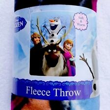 Disney Frozen Out In The Cold Fleece Blanket Throw Girls Anna Kristoff Olaf