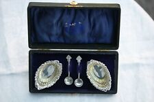 Antique solid silver pair salts and older spoons, Chester 1905, Not scrap, 24gms
