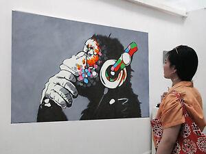 Large Urban Dj Monkey Ape Chimp  Painting Street Art  Canvas Graffiti