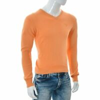 Gant Hommes Col V Tricot Manches Longues Pull Chemise Orange Taille S Authentic