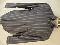 Armani Collezioni Luxury Mens Grey Stripe Long Sleeve Cotton Shirt XL Italy Made