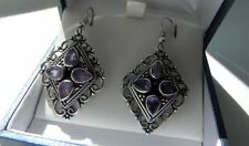Charming! 10g sterling silver 925 amethyst gemstone drop dangle hook earrings