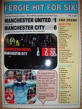 Manchester United 1 Manchester City 6 - 2011 - souvenir print