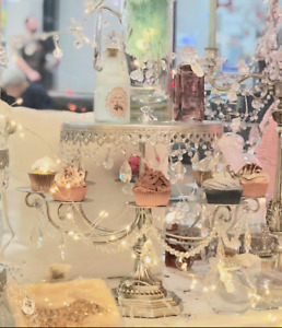 Large Shabby Crystal Silver Chic Cupcake Candelabra Table Display Cake Stand New
