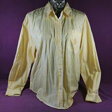 Vintage Liz Claiborne Womens Blouse Yellow White Stripe Size M 100% Cotton