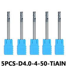 5Pcs 4mm Cutting Dia Carbide End Mill Set 4-Flute 4mm Shank TiAIN Coat HRC45