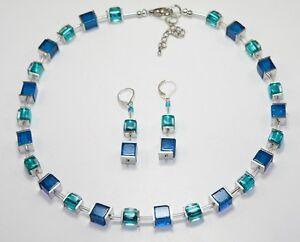 2er  Schmuckset Würfelkette Ohrringe Cube Glas crash Petrol Blau silber 259c