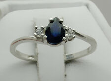 Blue Sapphire Pear Accented Ring - Sterling Silver