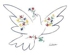 PICASSO, DOVE OF PEACE BLUE print poster  22 x 28