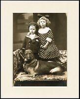 GERMAN SHEPHERD GSD LOVELY LITTLE DOG & CHILDREN PRINT MOUNTED READY TO FRAME