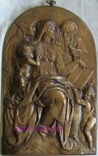 Plaque En Bronze De BARBEDIENNE Vierge, JESUS, JEAN BAPTISTE, ANNE & JOACHIM