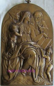 Plate Bronze Of Barbedienne Virgin, Jesus, Jean Baptiste, Anne & Joachim