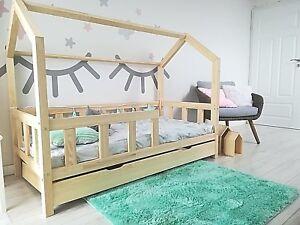 Kinderhaus Natur Kinderbett 90 X 200 Cm aus Holz Hausbett schublade bettkasten