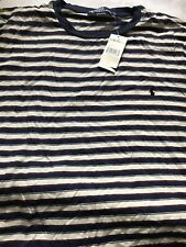 Polo Ralph Lauren Mens 3xlt Tall V-neck Striped Short Sleeve T Shirt Blue White