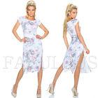 Sexy European Side Split Maxi Dress Floral Print Short Sleeve Size 6 8 10 XS S M