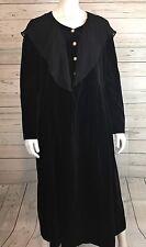 Vintage Laura Ashley Black Velvet Dress Shawl Collar Long Sleeve Modest Size 12