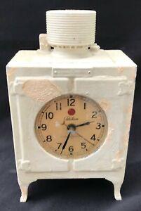 "Antique GE Telechron Advertising Mini Monitor Top Refrigerator Mantle Clock 9"""
