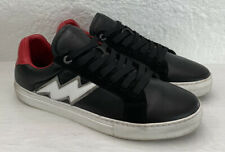 Zadig & Voltaire Men's Black Red Leather Flash Bolt Sneakers ZV1747 44 EU 11 US