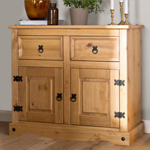 Corona 2 Door 2 Drawer Small Sideboard Cupboard - Mexican Solid Pine