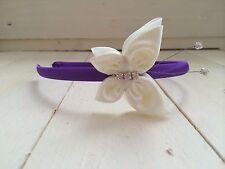 Purple Satin Headband Hairband Alice Band Ivory Butterfly Bridesmaid Flower Girl