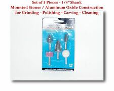 """5 Popular Shapes Mounted Stones Grinding Polishing Carving Cleaning 1/4"""" Shank"""
