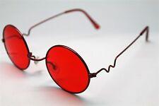 Red ROUND SUN GLASSES RED FRAMES TRIGUN VAMPIRE COSPLAY STEAM PUNK HIPPIE