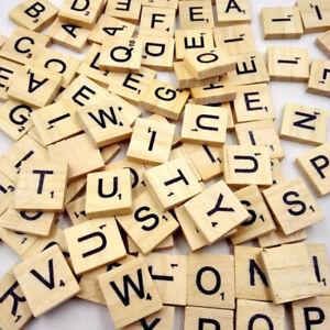 100Pcs Alphabet Scrabble Tiles Black Letters Numbers -Crafts Wood Digital Puzzle
