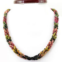 325.95 CTS NATURAL 20 INCHES LONG WATERMELON TOURMALINE FACETED BEADS NECKLACE