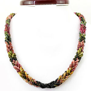 325.95 CTS 20 INCHES LONG WATERMELON TOURMALINE FACETED BEADS NECKLACE (DG)