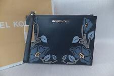 1894114b2 Michael Kors Genuine Large Navy Floral Leather Clutch Evening Wristlet Bag  BNWT