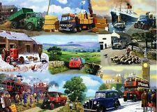 Gift Wrapping Paper Transport Steam Engine Tractor London Bus Ship Car Lorry Tug