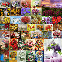Painting By Numbers Kit DIY Flower Vase Hand Painted Oil Art Picture Mosaic Home