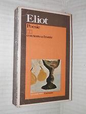 POESIE Thomas S Eliot Garzanti 1975 libro narrativa poesia saggistica di