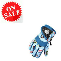 Kids Ski Gloves New Sky Blue Warm Waterproof Snow Children Outdoor Sports Gloves