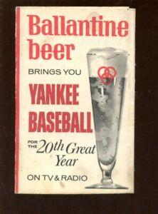 1966 Ballantine Beer & White Owl Cigar New York Yankees Pocket Schedule EX+