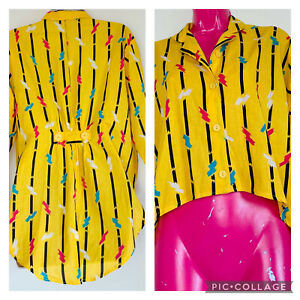 Unusual Quirky Yellow Vintage Shirt 14 80s Pattern Rainbow Bright Hippy Festival