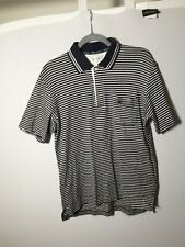 Burberry Mens Navy And White Striped Polo Shirt Size L Slim Short Sleeve Cotton