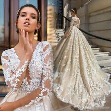 Milla Nova Long Sleeve Luxurious Ball Gown Lace Wedding Dresses Custom size