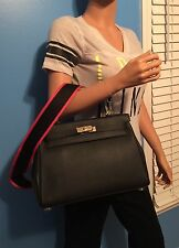NEW BLACK CELEBRITY STYLE 32CM HANDMADE LEATHER HANDBAG TOTE PURSE