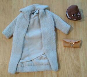 1963 Vintage Barbie Peachy Fleecy Wool Coat Hat Clutch #915 Exc/NM