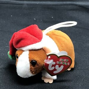 """]Ty Holiday Baby Beanies 3"""" Goodies Ornament Guinea Pig Santa Hat 2010"""