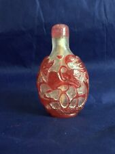 More details for a red glass overlay 'snowflake' lotus snuff bottle 1720-1880