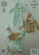 KNITTING PATTERN Baby Striped Coat All-InOne Blanket Cushion Hat Cuddles DK 4233