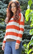 Burberry Brit Womens 100% Alpaca Cream Orange Striped Pullover Sweater Sz M