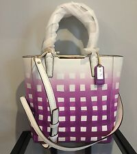 NWT Coach 30136 Madison Bright Mulberry Gingham Saffiano Leather Tote Handbag