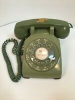 Vintage Bell System Rotary Dial Desk Phone Green Chicago Illinois Area Code