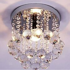 Elegant Chandelier Mount Lamp Modern Fixture Chrome Crystal Light Ceiling Flush