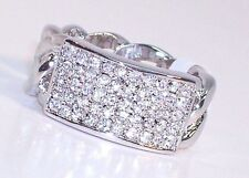 Size 12 RING Pave CZ Silver Tone Rhodium Plated Open Braid Band UNIQUE!!!