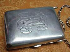 #849 ANTIQUE STERLING SILVER 8 OUNCE VICTORIAN COMPACT PURSE CARD CASE COIN DISP