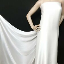 top quality bright white pure silk  charmeuse satin fabric material by the yard